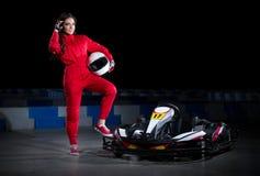 Young girl karting racer Stock Photography