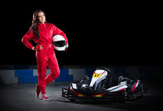 Young girl karting racer Stock Photography