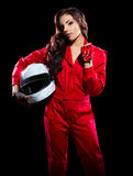 Young girl karting racer Royalty Free Stock Photo