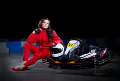 Young girl karting racer Royalty Free Stock Photography
