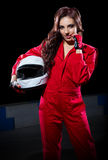 Young girl karting racer Royalty Free Stock Images