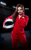 Young girl karting racer Stock Images