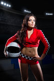 Young girl karting racer Stock Photos