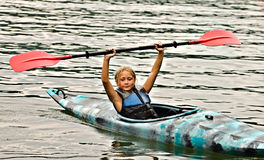 Young Girl in Kayak Stock Photo