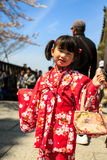 Young girl in kimono dress. At Kiyomizu-dera temple (during on new year eve) Photo taken on: April 03rd, 2014 Stock Image