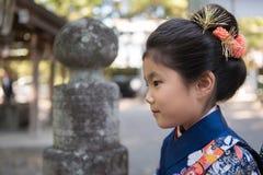 Young Girl in Kimono Stock Image