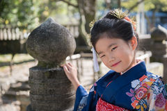 Young Girl in Kimono Royalty Free Stock Image