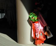 Young girl in Kimono shadow. Young seven-year old Japanese girl visiting a shrine temple during the shichi-go-san  traditional rite of passage and festival  for Royalty Free Stock Images