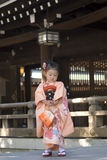 Young girl in kimono, Tokyo, Japan Royalty Free Stock Photos