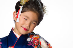 Young Girl in Kimono on White Royalty Free Stock Photo