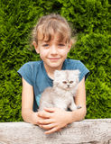 Young girl with kitten of persian cat Royalty Free Stock Image