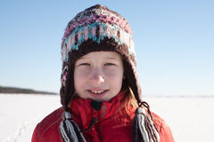 Young girl in knitted cap Royalty Free Stock Photography