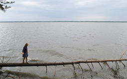Young girl on lake Stock Image