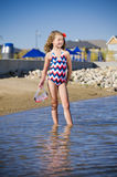 Young girl at the lake neighbourhood Stock Photos