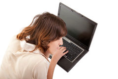 Young girl with laptop Stock Photos