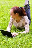 Young girl  with laptop Stock Photo