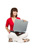 Young girl with laptop Royalty Free Stock Photos