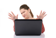 Young girl at a laptop Stock Photos