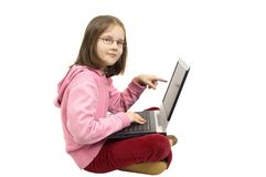 Young girl with laptop Royalty Free Stock Photo