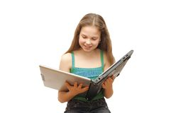 The young girl with the laptop isolated Stock Photography