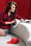 Young girl with laptop listen to music Royalty Free Stock Photo
