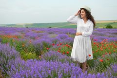 Young girl is in the lavender field, beautiful summer landscape with flowers Stock Photos