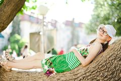 Relaxing on tree branch during hot summer day. royalty free stock images