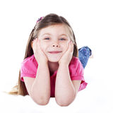 Young girl leaning on hands Stock Photo