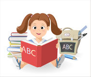 Young girl learn the alphabet. ABC book Royalty Free Illustration