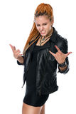 Young girl in leather jacket with dreadlocks with characteristic Stock Photo