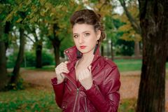A young girl in a leather Kurta . Royalty Free Stock Photos