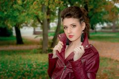 A young girl in a leather Kurta . Royalty Free Stock Photo