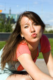 Young girl lets kiss Stock Photos
