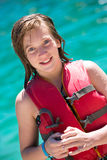 Young girl in life vest Royalty Free Stock Images
