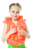 Young girl with lifejacket. Young girl with yellow lifejacket on a white background Royalty Free Stock Photography