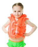 Young girl with lifejacket. Young girl with yellow lifejacket on a white background Royalty Free Stock Images