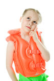 Young girl with lifejacket. Young girl with yellow lifejacket on a white background Stock Images