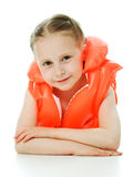 Young girl with lifejacket. Young girl with yellow lifejacket on a white background Royalty Free Stock Photos