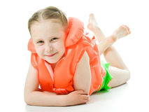 Young girl with lifejacket. Young girl with yellow lifejacket on a white background Stock Photos