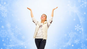 Young girl lifted hands up Royalty Free Stock Photo