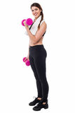 Young girl lifting dumbbells, biceps exercise Royalty Free Stock Photos