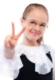 Young girl lifts two fingers Royalty Free Stock Photo