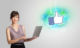 Young girl with like social media illustration Stock Photo