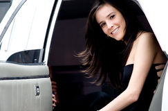 Young girl in a limousine Royalty Free Stock Photo