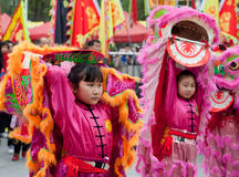 Young girl lion dancers Stock Photography
