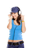Young girl listen music Stock Photography
