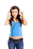 Young girl listen music Royalty Free Stock Photos