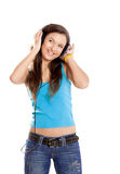Young girl listen music Stock Photos