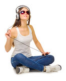 Young girl listen music Stock Photo