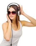 Young girl listen music Stock Images